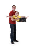 Dad keeps his son in his arms Royalty Free Stock Photo