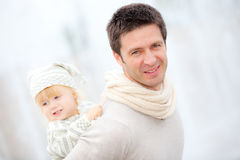 Dad and kid. Happy families royalty free stock image