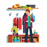 Dad and kid dressing clothes in hall together. Father getting dressed putting on jacket or coat, son sitting tying sneaker shoes laces. Dad and kid dressing vector illustration