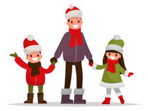 Dad with kids dressed in winter clothes outdoor. Vector illustra Royalty Free Stock Photos
