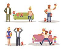 Dad with kids vector illustration