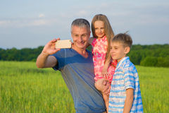 Dad with kids. Stock Photo