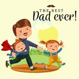 Dad with kids walking park, happy fathers day concept background, super boy and girl family walk, daddy of little hero Royalty Free Stock Image