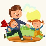Dad with kids walking park, happy fathers day concept background, super boy and girl family walk, daddy of little hero Stock Photography
