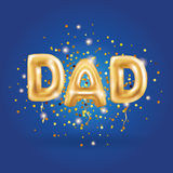 Dad letters gold balloons. On blue background. Happy fathers day golden balloon. Holiday design for greeting card, flyer poster, sign, banner, web header Stock Image