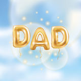 Dad letters gold balloons. On blue sky background. Happy fathers day golden balloon. Holiday design for greeting card, flyer poster, sign, banner, web header Royalty Free Stock Image