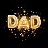 Dad letters gold balloons. On dark background. Happy fathers day golden balloon. Holiday design for greeting card, flyer poster, sign, banner, web header Royalty Free Stock Photos