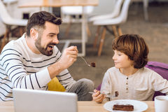 Dad and little boy eating chocolate cake royalty free stock image