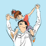 Dad with little girl on his shoulders Royalty Free Stock Photo