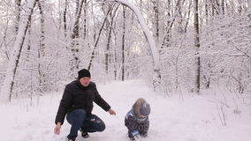 Dad and little son having fun in a snowy forest. stock video footage
