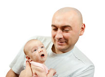 Dad loving his new baby Stock Image