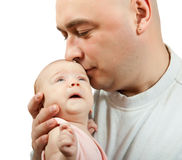 Dad loving his new baby Stock Images
