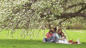 Dad, mom and children are sitting in a meadow under a blossoming apple tree. Happy family is resting in nature. Two stock footage
