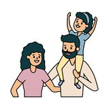 Dad mom and daughter. Vector illustration design stock illustration