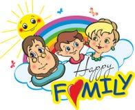 Dad, Mom, I - happy family stock illustration