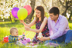 Dad and mom playing games with little son outside in spring blooming garden stock photos