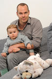 Dad and newborn baby Stock Photography