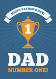 Dad number one 2. Creative design for Fathers Day greeting card, banner or poster with golden trophy cup for dad number one on blue background Stock Images