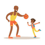 Dad Paying Basketball With Son, Loving Father Enjoying Good Quality Daddy Time With Happy Kid Royalty Free Stock Photography