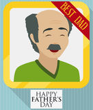 Dad Picture in Golden Frame and Ribbon for Father`s Day, Vector Illustration. Poster in flat style with smiling elderly dad in a golden portrait frame decorated stock illustration