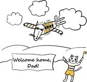 Dad - Pilot caricature  illustration Royalty Free Stock Photography