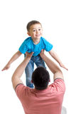 Dad plays with kid isolated on white Stock Images