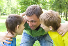 Dad Plays With Young Children Royalty Free Stock Photography