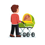 Dad pushing baby stroller walking with kid. Father or dad pushing baby stroller. Babysitter man walking with kid in green pram. Child care concept. Flat style Stock Images