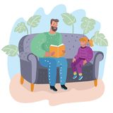 Dad reading a book to his daughter. Fatherhood stock illustration