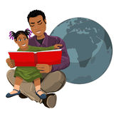 Dad reads the holy book of Judaism child sitting on hands Royalty Free Stock Image