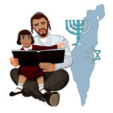 Dad reads the Talmud child sitting on hands Royalty Free Stock Photography