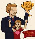 Dad Receiving an Award from his Daughter in Father's Day, Vector Illustration Stock Photo