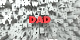 DAD -  Red text on typography background - 3D rendered royalty free stock image Royalty Free Stock Photo