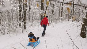 Young dad rolls his little son on a sled in winter. Dad running through the snow-covered path and pulling son on a sled in winter Park stock footage