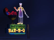 Dad's Barbeque Neon Sign Royalty Free Stock Images