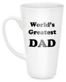 Dad coffee mug. White coffee mug with black text saying World's Greatest Dad  isolated on white background Royalty Free Stock Images