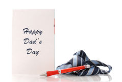 Dad's Day. Fathers Day Card with Neck Tie and Pen Royalty Free Stock Images
