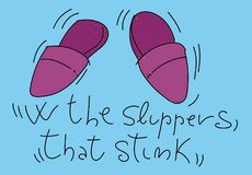Dad`s slippers Colorful drawings in pop art style. Colorful drawings in pop art style stock illustration