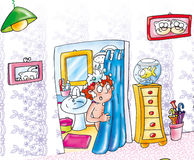 Dad in the shower asks aiito not find her bathrobe suite with fish in bowl fables illustrated for books. Dad in the shower asks aiito not find her bathrobe Royalty Free Stock Photo