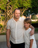 Dad and son . Happy dad with son in a park Royalty Free Stock Photography