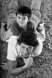 Dad and son b&w. A loving dad with his son in black and white Stock Photography