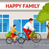 Dad And Son On Bicycles Royalty Free Stock Images
