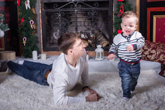 Dad and son at chrismas time Stock Image