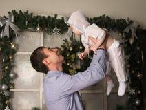Dad and son christmas Stock Photos