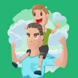 Dad Son Couple Cartoon Illustration Vector. Dad Son Couple Cartoon Illustration Stock Photo
