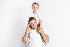 Dad with son. A Dad with son in the studio white background stock image