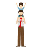 Dad and son design. Avatar man dad carrying his son on his shoulders over white background. vector illustration Royalty Free Stock Images