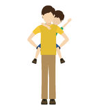 Dad and son design. Avatar man dad carrying his son on his shoulders over white background. vector illustration Stock Photography