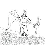 Dad and son flying a kite. Black and white vector illustration Royalty Free Stock Images