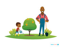 Dad and son in fruit garden, boy in gumboots water apple tree with watering can Stock Photography